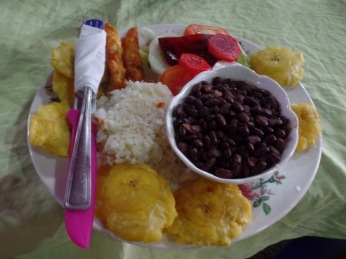 gallo pinto, tostones (bottom), guajada (top left)